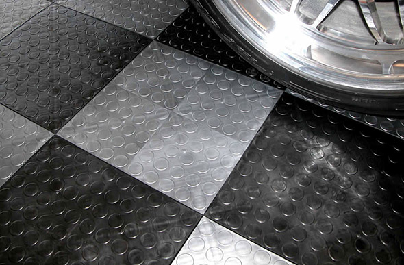 Coin Grid Loc Tiles Designer Plastic Garage Floor Tile