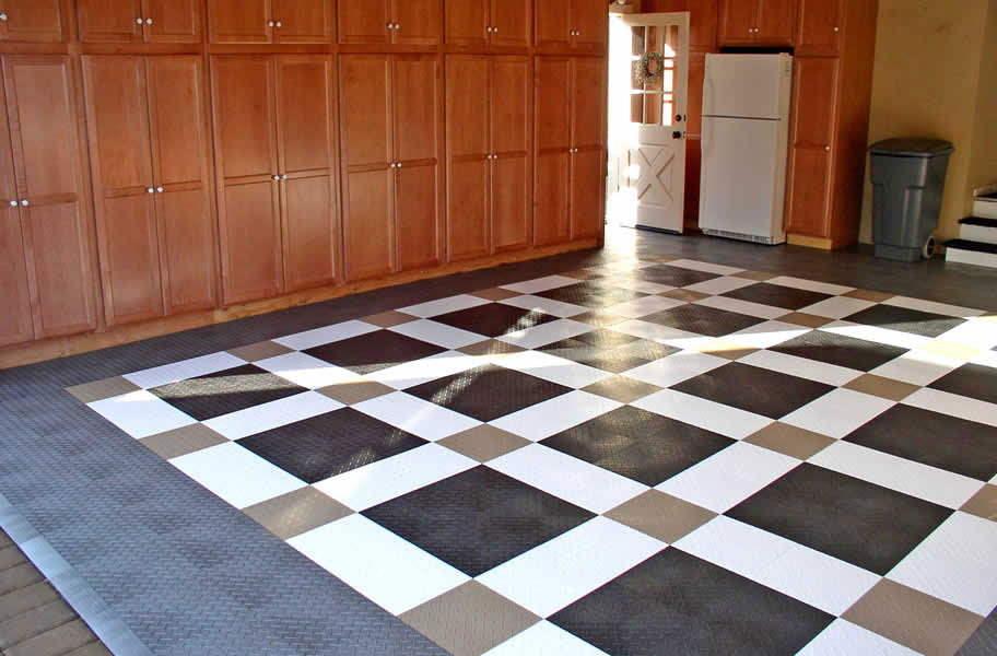 Diamond Grid Loc Tiles Snap Together Garage Floor Tiles