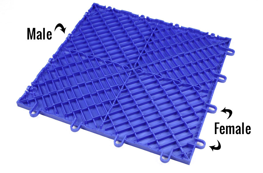 Diamond Grid Loc Tiles Snap Together Garage Floor Tiles