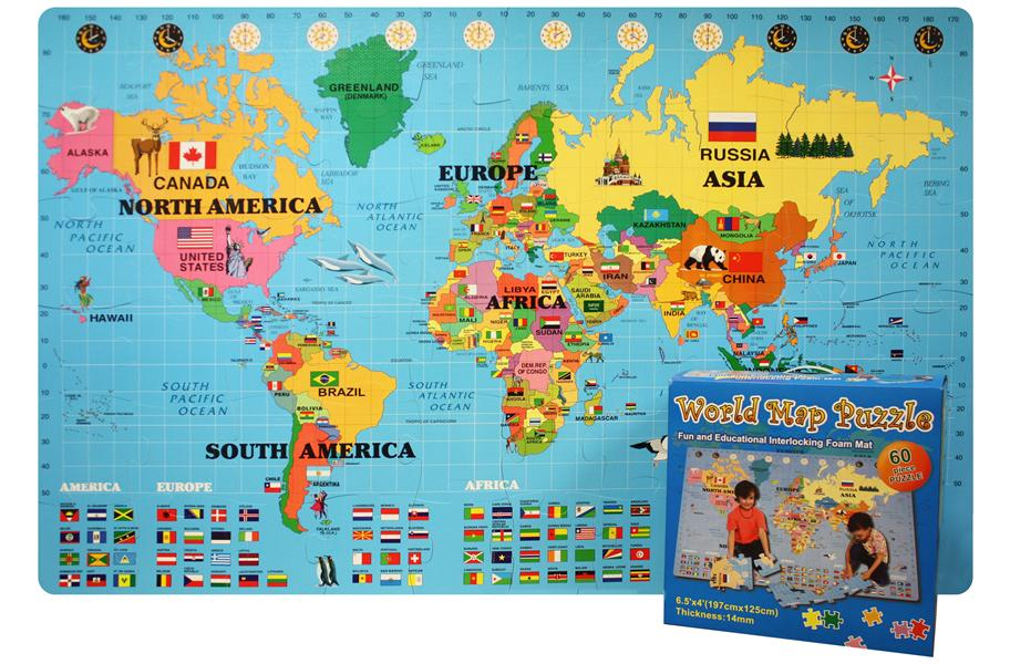 Foam World Map Kit Interlocking Puzzle Mat – Map of World Canada