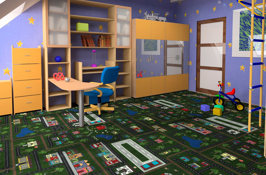Joy carpets tiny town kids carpet tile squares for Kids room carpet