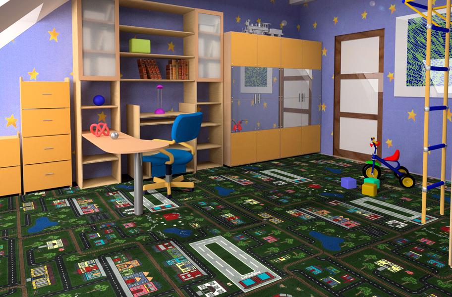 Joy carpets tiny town kids carpet tile squares for Carpet squares for kids rooms