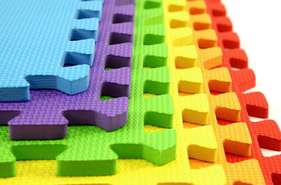 Rainbow Play Mats Colorful Interlocking Foam Tile Pack