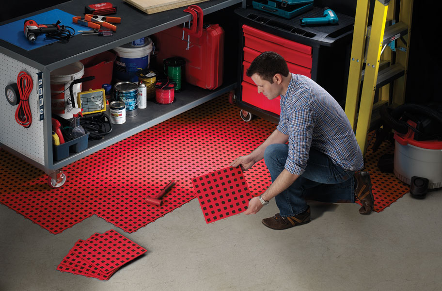 Premium Tiles W Traction Squares Diy Garage Floor