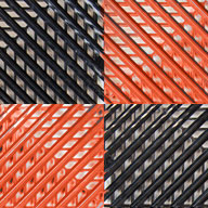 Black/Harley Orange Vented Nitro Tile - Motorcycle Mats