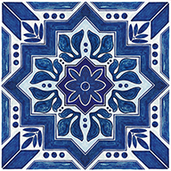 Blue MoroccanFloorAdorn Self-Adhesive Vinyl Sticker