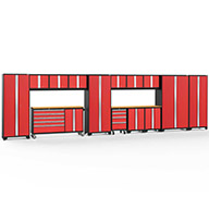 Red / Bamboo 56533NewAge Bold Series 15-PC Cabinet Set