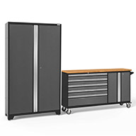 Gray / Bamboo 50500NewAge Bold Series 2-PC Cabinet Set