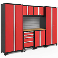 Red / Bamboo 56220NewAge Bold Series 7-PC Cabinet Set