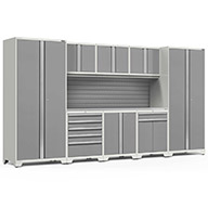 White / Steel 58859NewAge Pro Series 9-PC Cabinet Set