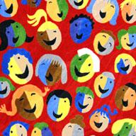 Red Joy Carpets Joyful Faces Kids Rug