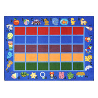 Blue Joy Carpets Alphabet Phonics Kids Rug