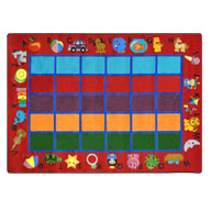 Red Joy Carpets Alphabet Phonics Kids Rug