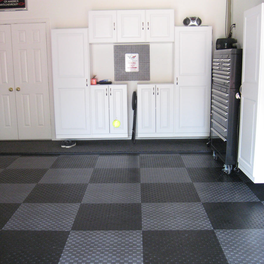 Diamond grid loc tiles snap together garage floor tiles for Garage floor design