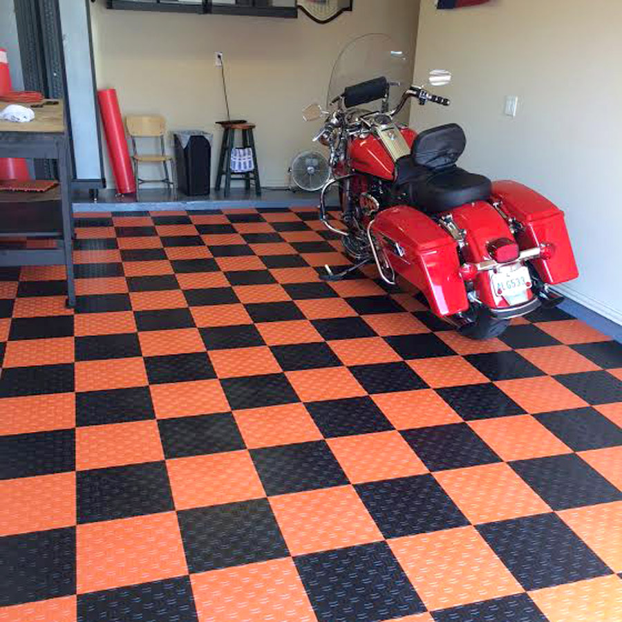 Diamond grid loc tiles snap together garage floor tiles rubberflooringinc customer dailygadgetfo Image collections
